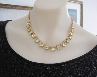 Vintage Rare Weiss Pale Yellow Rhinestone Necklace Bride Bridal Wedding