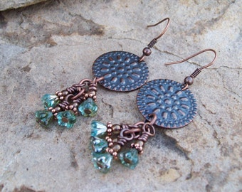 Aquamarine Bell Flower Beaded Cluster Dangle Earrings, Copper Earrings, Rustic Gypsy Earrings