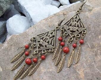 Red Jasper Gemstone Chandelier Earrings - Feather Drops - Antiqued Gypsy Earrings - Boho Hippie