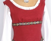 Wine red linen medieval fantasy shieldmaiden bodice with corset style laced back -ready to ship-