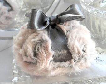 La Petite Pewter Powder Puff - pewter gray and blush pink bath pouf - two toned plush powder duster - mini size - gift box option