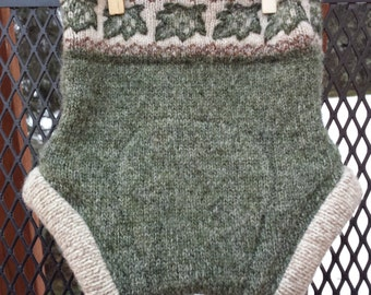 Upcycled Wool Cover, Soaker, small, olive green with ivy, extra layer