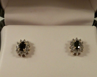 14 KT White and Yellow Gold Sapphire & Diamond Pierced Earrings