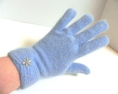 Vintage 50s Gloves Fuzzy Blue Angora Wool Gloves with Pearls - on sale