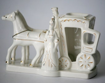 Russian Porcelain Figurine Horse and Carriage Hand Made White and Gold China from Russia