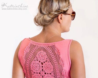Pink Tank Top with upcycled vintage crochet back - Size L