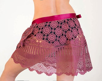 Crochet beach wrap skirt dark red skirt Upcycled from  hand dyed vintage tablecloth