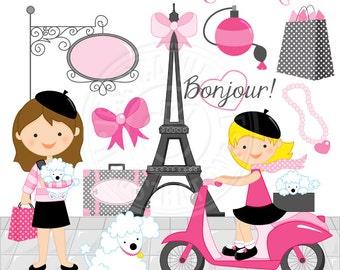 Bonjour From Paris Cute Digital Clipart - Commercial Use Ok - Paris Clipart, Eiffel Tower clipart, Moped, Poodle Clipart