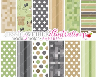 In the Army Cute Digital Papers for Card Design, Scrapbooking, and Web Design, Digital Camo