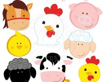 Barn Animal Faces Cute Digital Clipart - Commercial Use OK - Farm Animals, Barn Animals, Farm Clipart