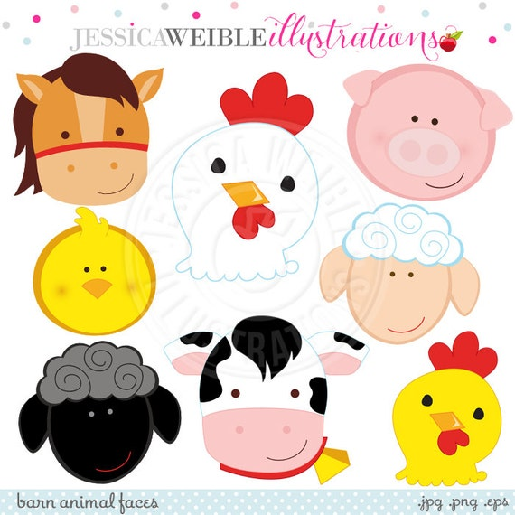 Barn Animal Faces Cute Digital Clipart