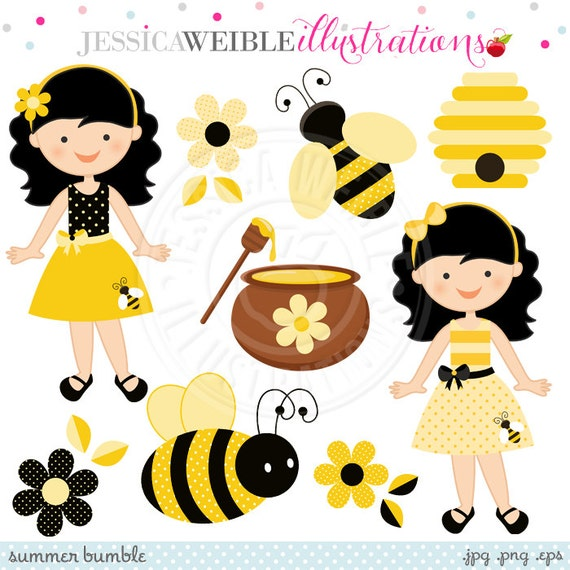 Summer Bumble Cute Digital Clipart - Commercial Use OK - Bumble Bee Clipart - Cute Bee Graphics
