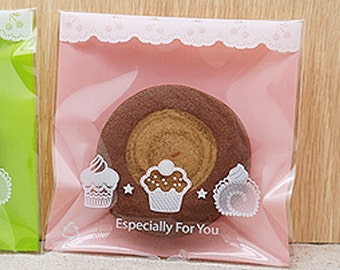 30 Mini Cupcake Self Sealing Cellophane Bags - Pink (3.5 x 3.5in)