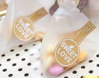 18 Sweet Love Kraft Long Packing Stickers (1.4 x 5.1in)