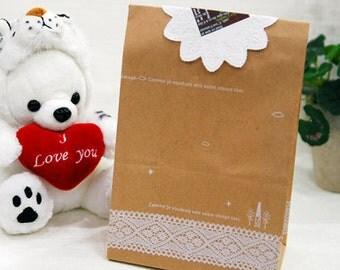 30 Lace Pattern Kraft Paper Bags - M size (6 x 10.6in)