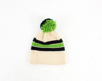 KALE 70s Retro Handmade Knit Knitwear Forest Hunter Green Striped Puff Top Winter Snow Warm Boho Beanie Hat Skull Cap Folk Indie Unisex
