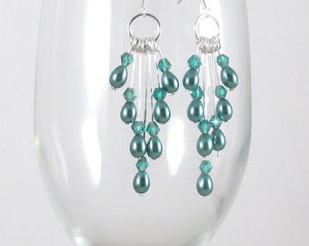 Teal Glass Pearl Cascading Earrings