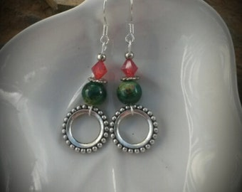 Green Red Silver Hoop Dangle Sterling Silver Earrings, Christmas Silver Hoop Dangle Sterling Silver Earrings