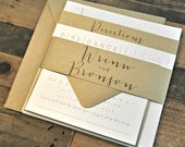 Square Bronson Wedding Invitation Suite with Belly Band - Champagne Gold, Blush Pink, Ivory (colors/text customizable)