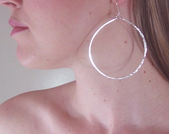 Silver Lunar Hoop Earrings; Size Large