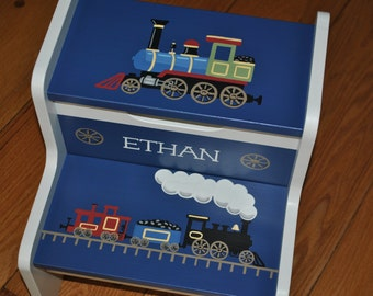 Kids Personalized 2 Step Stool -Trains