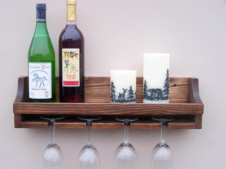 Rustic Floating Ledge Shelf Holds 6 Bottles And 4 Glasses