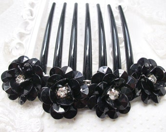 Black tie Gala Hand decorated hair fascinator Large french twist comb with Large 3D Acrylic Black flowers and clear rhinestone crystals
