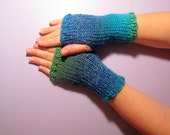 Fingerless Gloves - Blue and Green Mix Hand Knit Fingerless Gloves