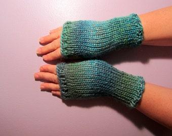 Fingerless Gloves - Blue and Green Mix Hand Knit Fingerless Gloves