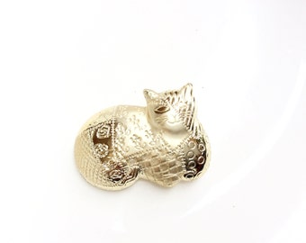 chubby cat brooch Patchwork fat cat gold tone pin signed AJC