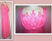 1960s Bright Pink Vintage Gown with Sheer Pearl/Rhinestone Embellished Applique Decolletage