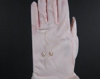 Childrens Vintage Pink Dress Gloves - Size 4 - 6-1/2 inches long(24ch)