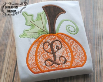 Fall Pumpkin Applique- Both Satin & Zig-zag are included