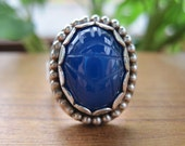 Royal Blue Chalcedony Scarab Ring with Engraved Sterling Spoon Handle Shank Size 7.5, One of a Kind, READY TO SHIP.
