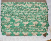 Green Tassel Trim, Vintage Tassel Trim, Green and Beige Trim, Trim by the Yard, Pillow Trim, Curtain Trim, Sewing Trim, Lampshade Trim