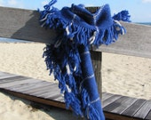Ocean Blue & White Wool Fringed Artisan Woven Blanket Scarf, Mens Womens Metro Rustic Urban City Country Seaside Beach Fashion Accessory