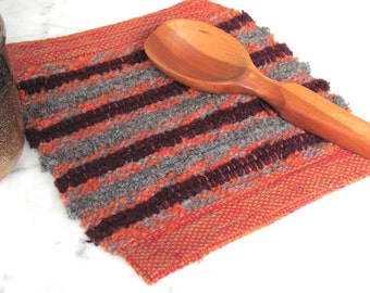 Modern Rustic Mountain Cabin Farmhouse Kitchen Wool Pot Holder, Hygge Country Home Decor Woven Hot Pad Mat Trivet, Mom Gourmet Cooking Gift