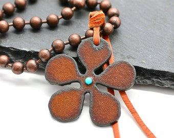 Rustic Necklace , Iron Necklace , Pendant Necklace , Dog Tag Necklace , Flower Necklace , SouthWestern Jewelry , Turquoise Necklace