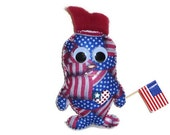 Plush monster toy patriotic gift for a boy red white and blue american flag print