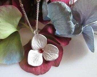Hydrangea necklace - silver and garnet