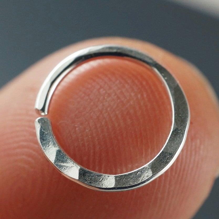 18 Gauge Hammered Nose Ring / Septum Ring / Cartilage