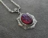 Fire Opal Jewelry Sterling Silver Glass Necklace Fire Opal Necklace Romantic Jewelry Victorian Necklace Glass Opal Jewelry Unique Jewelry