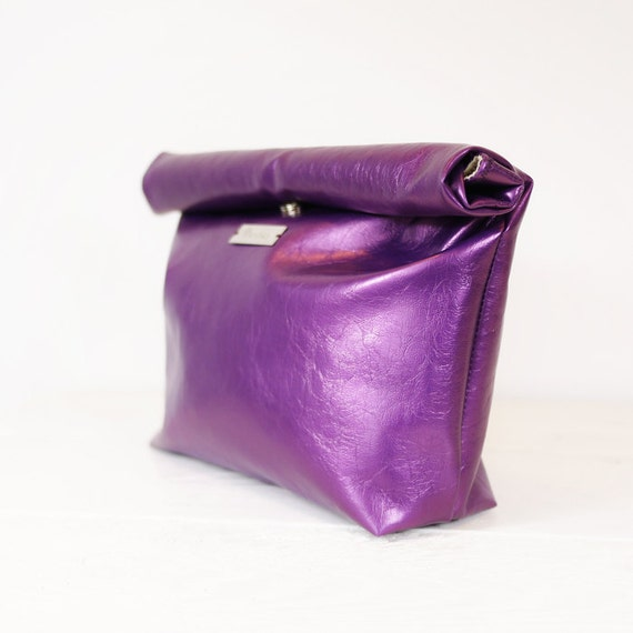 Purple Leather Lunch Bag Clutch Handbag Tote