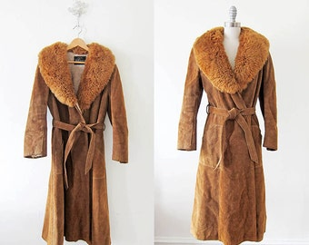 1970s Suede Coat | Cognac Leather | 70s Sherpa Fur Trenchcoat
