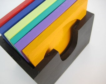 Multicolor Coaster Set in Black Holder -6 hand painted Wooden Coasters and Holder -Sale 30%off