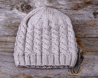 Women's Cable Knit Hat in Natural Linen, Cable Knit Beanie, Linen, Oatmeal, Natural