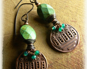 Artisan Copper Earrings Green Turquoise Onyx Rustic Tribal  Beaded Jewelry