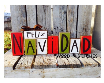 Feliz Navidad Christmas winter seasonal decor wood block set personalized sign gift Spanish