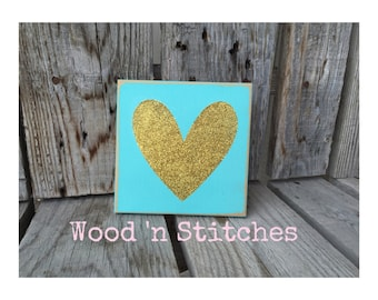 Heart glitter sign wood block seasonal personalized home gift decor custom gift glitter spring room decor valentines day