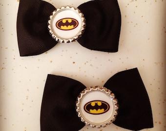 Batman silver flattened bottlecap small black bow set of 2 comic book super hero